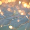 100 LED Βροχή Ασύμμετρη Θερμή Λευκή με διάφανο καλώδιο
