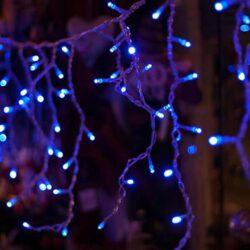 100 LED Βροχή με διάφανο καλώδιο και μπλε λαμπάκι