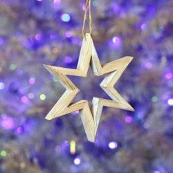 Ξύλινο τρισδιάστατο αστέρι ύψους 15cm
