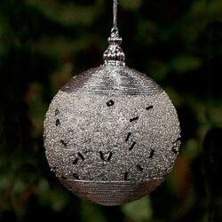 Μπάλα ασημένια με μαύρη χάντρα 10cm