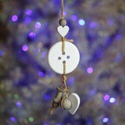 Ξύλινο κουμπί με καρδούλα