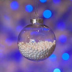 Μπάλα διάφανη με χιονάκι, διαμέτρου 8cm