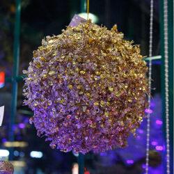 Μπάλα χρυσή με πέρλα και χάντρα, 25cm