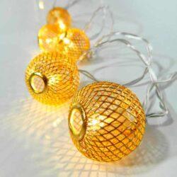 10 LED Μπαταρίας με χρυσές μεταλλικές μπάλες