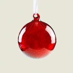 Μπάλα γυάλινη μπορντώ με ραβδώσεις, διαμέτρου 8cm
