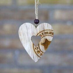 Ξύλινη καρδούλα με στάμπα, ύψους 7cm