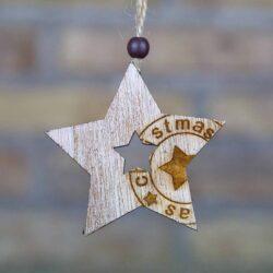 Ξύλινο αστέρι με στάμπα, ύψους 7,5cm