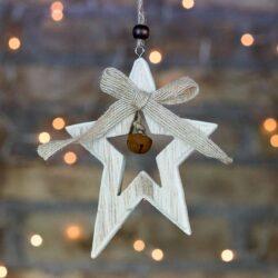 Ξύλινο αστέρι με κουδουνάκι και κορδέλα, ύψους 12,5cm