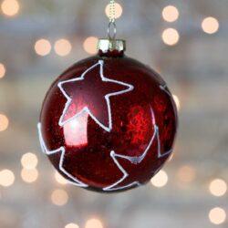 Μπάλα γυάλινη κόκκινη με αστέρια, 8cm