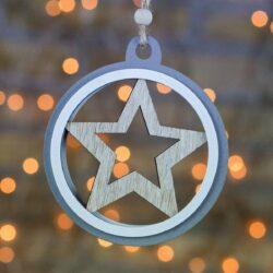 Ξύλινο στολίδι γκρι με αστέρι, διαμέτρου 10cm