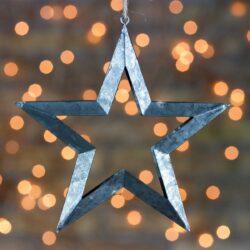 Χριστουγεννιάτικο αστέρι - περίγραμμα ασημί, 16cm