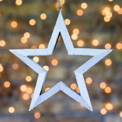 Χριστουγεννιάτικο αστέρι - περίγραμμα λευκό, 16cm