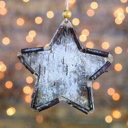 Ξύλινο στολίδι αστέρι, ύψους 16cm