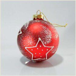 Μπάλα γυάλινη, κόκκινη χιονισμένη με αστέρια, 8cm