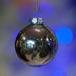 Μπάλα γυάλινη ασημί, 8cm