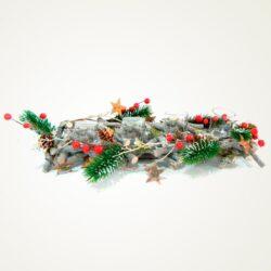 Ξύλινο Κηροπήγιο με berries για 4 ρεσώ, 40cm