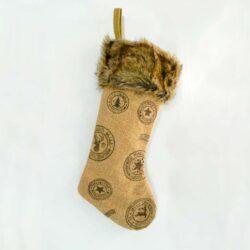 Κάλτσα μπεζ με σχέδια και γουνάκι, 50cm