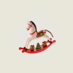 Ξύλινο αλογάκι με δώρα, κουνιστό, 21cm
