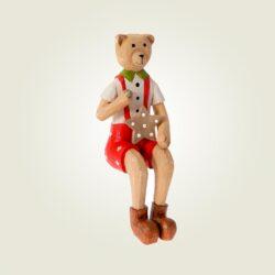 Ξύλινος αρκούδος καθιστός, κόκκινος 19cm