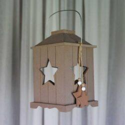Φανάρι ξύλινο, με αστέρι, ύψους 20cm