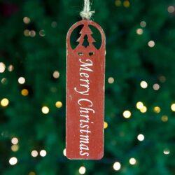 Ξύλινο στολίδι Merry Christmas κόκκινο, ύψους 20cm