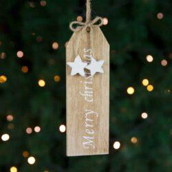 Ξύλινο στολίδι Merry Christmas με αστεράκια, ύψους 18cm