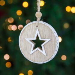 Ξύλινο στολίδι με αστέρι, ύψους 8cm