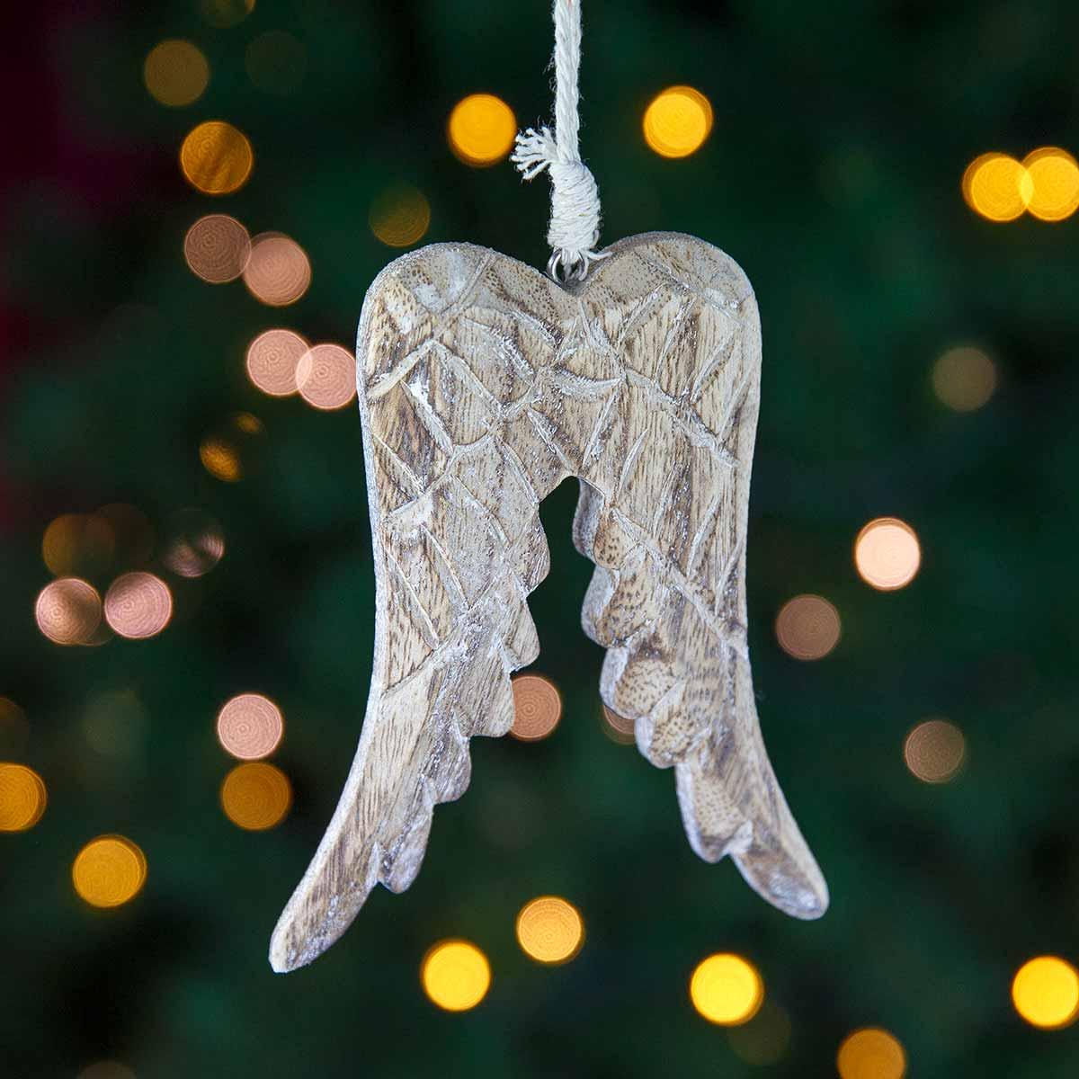 Ξύλινο στολίδι με φτερά αγγέλου, ύψους 12cm