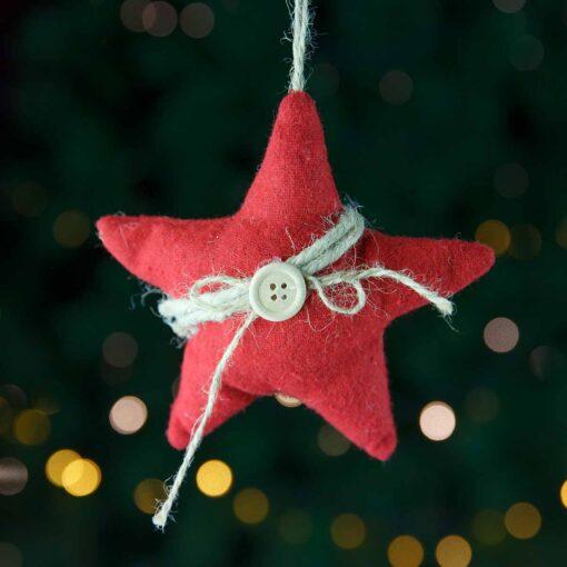 Χριστουγεννιάτικο αστέρι κόκκινο, ύψους 13cm