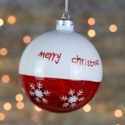 Μπάλα γυάλινη λευκή-κόκκινη Merry Christmas 10cm