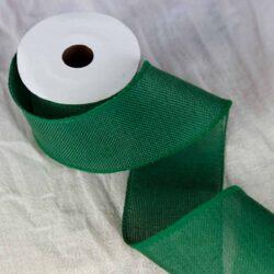 Χριστουγεννιάτικη κορδέλα λινάτσα πράσινου σκούρου χρώματος