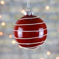 Μπάλα γυάλινη 8cm, κόκκινη με λευκές ρίγες