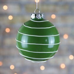 Μπάλα γυάλινη 8cm, πράσινη με λευκές ρίγες