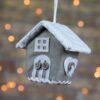 Χριστουγεννιάτικο στολίδι σπιτάκι γκρι, ύψους 8cm