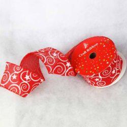 Kορδέλα κόκκινη με σπείρες 6.5cm