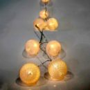 10 LED Μπαταρίας με Λευκές μπάλες, σταθερά