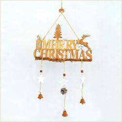 Ξύλινο κρεμαστό Merry Christmas, 30Χ60cm