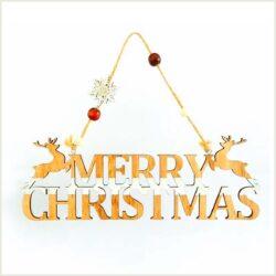 Ξύλινο κρεμαστό Merry Christmas, μήκους 29cm, ύψους 10cm