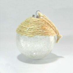 Μπάλα γυάλινη, χιονισμένη με σπάγγο, διαμέτρου 8cm