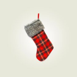 Κάλτσα Αη Βασίλη καρό, ύψους 50cm