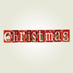 Ξύλινη πινακίδα Merry Christmas, μήκους 74cm