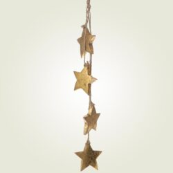 Κρεμαστή γιρλάντα με ξύλινα αστέρια, ύψους 60cm