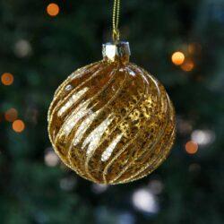 Μπάλα γυάλινη χρυσή με καμπύλες, 8cm