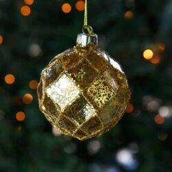 Μπάλα γυάλινη χρυσή με τετράγωνα, 8cm