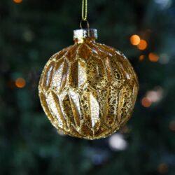 Μπάλα γυάλινη χρυσή με εξάγωνα, 8cm