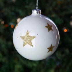 Μπάλα γυάλινη, λευκή με χρυσά αστέρια, 10cm
