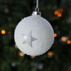 Μπάλη σαγρέ, λευκή με αστέρια, 8cm