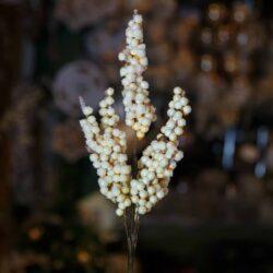 Χιονισμένο κλαρί γκι μπεζ, ύψους 27cm