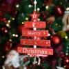 Δεντράκι ξύλινο Merry Christmas κόκκινο, ύψους 21cm