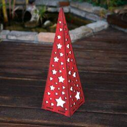 Ξύλινη πυραμίδα με αστέρια, φωτιζόμενη, ύψους 57cm